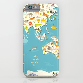 Animals world map. Beautiful cheerful colorful vector illustration for children and kids iPhone Case