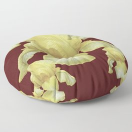 PALE YELLOW IRIS ON BURGUNDY COLOR Floor Pillow