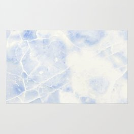 Blue and White Marble Waves Rug