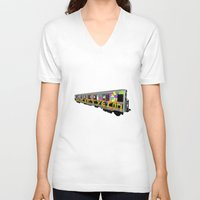 subway V-neck T-shirts featuring subway art by design lunatic