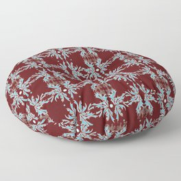 Maroon, Teal and White Detailed Textile Floor Pillow