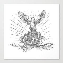 Eagle Rising Like Phoenix and Dragon Tattoo Canvas Print