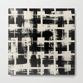 Black and white plaid, pool tiles pattern, tartan Metal Print