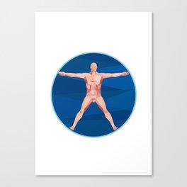 Da Vinci Man Anatomy Low Polygon Canvas Print