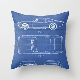 Camaro blue Throw Pillow