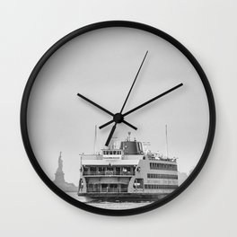 Liberty & Ferry in Black and White Wall Clock
