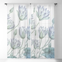 Water Lily Blue Sheer Curtain