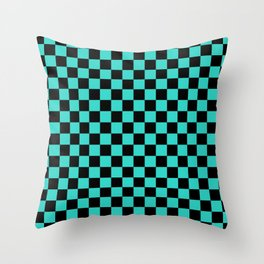 Black and Turquoise Checkerboard Throw Pillow