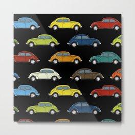 Little Beetle Pattern black Metal Print