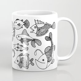 Arrangement of doodle fish Coffee Mug