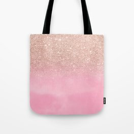 Modern rose gold glitter ombre hand painted pink watercolor Tote Bag