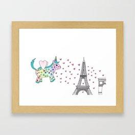 Rainbow the Unicorn in Paris Framed Art Print