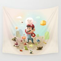 super mario Wall Tapestries featuring Too Super Mario by Christian Jackson