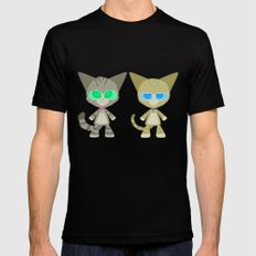 Cat Twins (Clara and Clarence Cat) Mens Fitted Tee SMALL Black