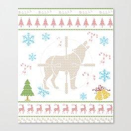 Wolf Hunter Wolf Hunting Christmas Ugly Holiday Shirt Canvas Print