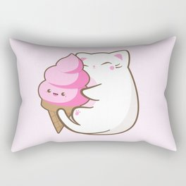 Ice cream lover chubby cat Rectangular Pillow