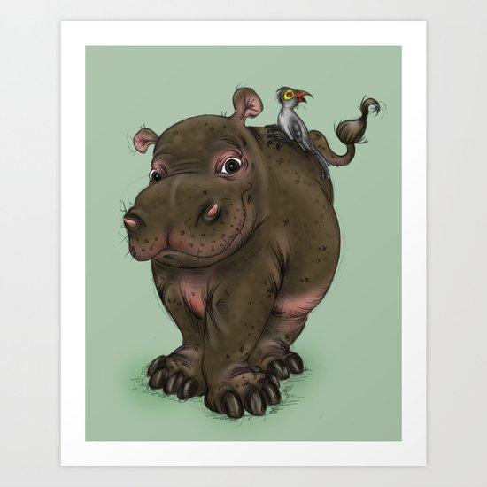 Hippo and Bird Friend Art Print