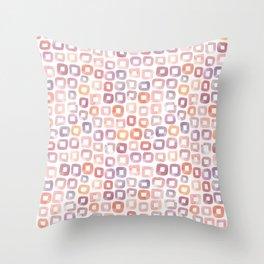 Watercolour squares - Pink Purple Orange Throw Pillow