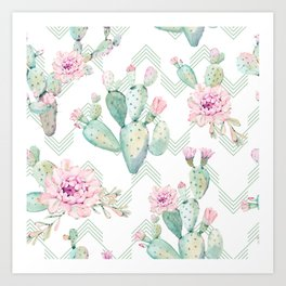 Cactus Rose Deconstructed Chevron Art Print