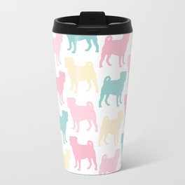 Pastel Pugs Pattern Travel Mug