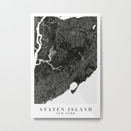 Staten Island New York Minimal Black Mono Street Map  Metal Print