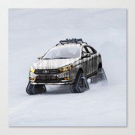 Lada Vesta on track Canvas Print