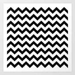 Chevron (Black & White Pattern) Art Print