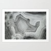 mineral Art Prints featuring MINERAL MONOCHROME by Catspaws