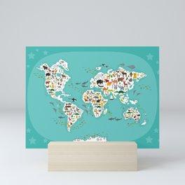 Cartoon animal world map for children and kids, Animals from all over the world Mini Art Print