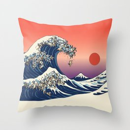 The Great Wave of Pugs / Square Throw Pillow