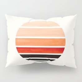 Burnt Sienna Mid Century Modern Minimalist Circle Round Photo Staggered Sunset Geometric Stripe Desi Pillow Sham