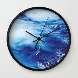 Navy Blue Ocean Wave Wall Clock
