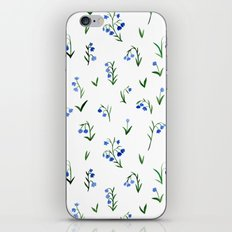 blue lily subtle pattern iPhone & iPod Skin