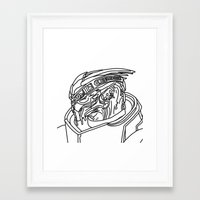 garrus Framed Art Prints featuring Garrus by Cat Milchard