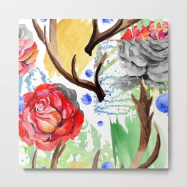 Hand painted red pink green watercolor geometrical abstract roses Metal Print
