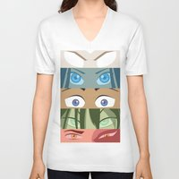 aang V-neck T-shirts featuring Team Avatar by Kazuma Shimizu
