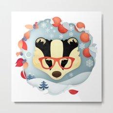 Winter Badger Metal Print