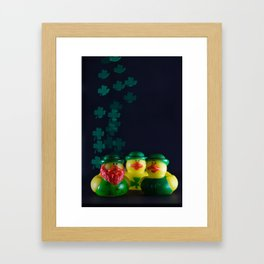 Happy St. Patrick's Day with St. Patrick's Day Rubber Ducks and Shamrock Shaped Bokeh Framed Art Print