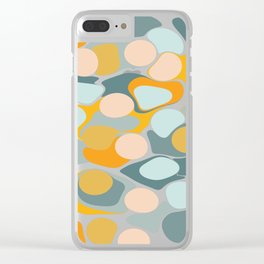 Abstract Pebble Tower in Soft Blue and Yellow Clear iPhone Case