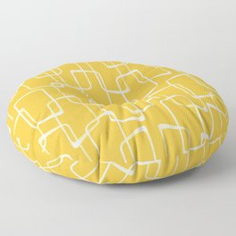 Retro Yellow Geometric Shapes Pattern Floor Pillow