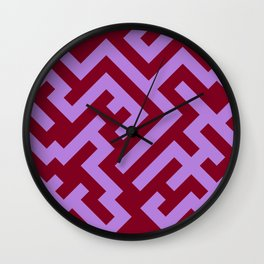 Lavender Violet and Burgundy Red Diagonal Labyrinth Wall Clock