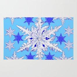 BABY BLUE SNOW CRYSTALS BLUE WINTER ART DESIGN Rug