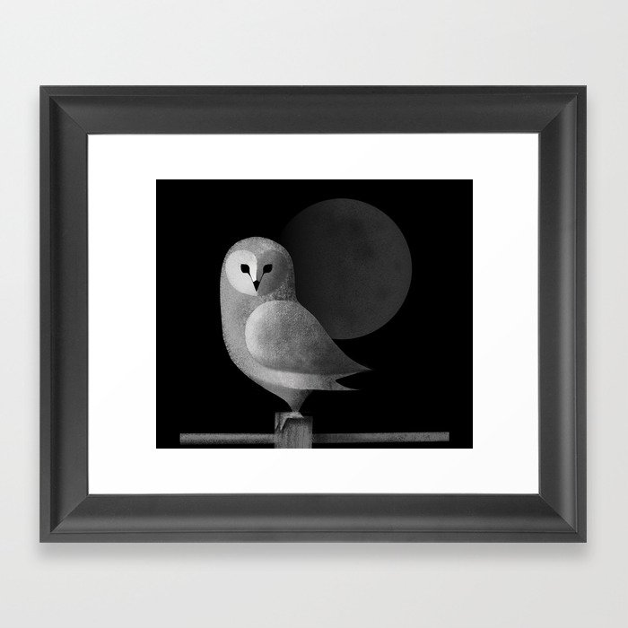 Barn Owl Full Moon Framed Art Print