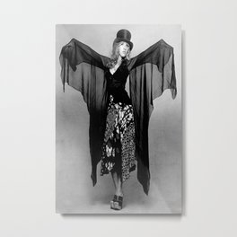 STEVIE NICKS Singer Rocker, Dress Black  Metal Print