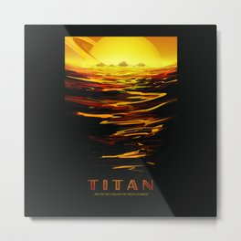 Titan NASA Space Travel Poster Futuristic Adventure Metal Print