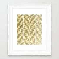 gold foil Framed Art Prints featuring Gold Foil Chevron by Berty Bob