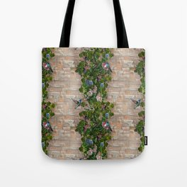 Grapevines and Honeysuckle on a Brick Wall Tote Bag
