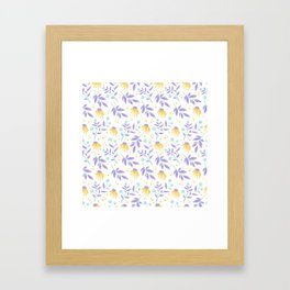 Yellow flowers and purple leaves Framed Art Print