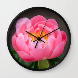 Coral Peony by Teresa Thompson Wall Clock