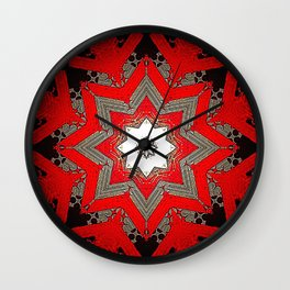 Silver red and black holiday star Wall Clock